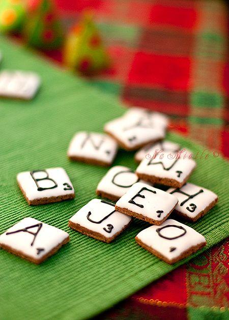 game night cookies.: Minis Cookies, Scrabble Cookies, Idea, Scrabble Tile, Crosses Cookies, Gingerbread Cookies, Gamenight, Games Night, Scrabble Letters