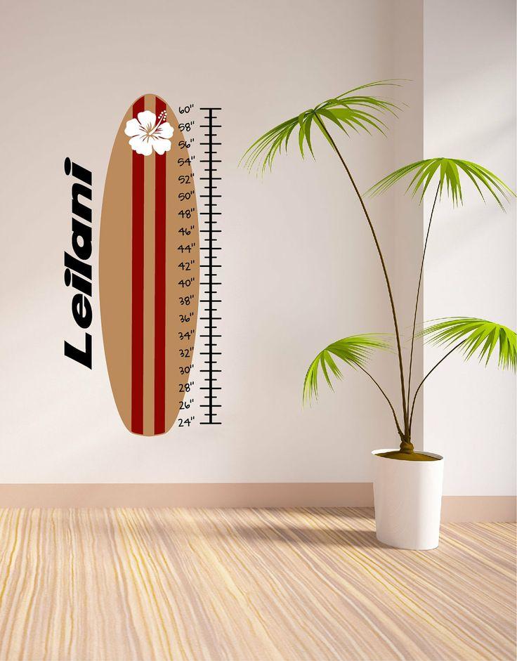 Surfboard Wall Vinyl Growth Chart - Vinyl Decals - Wall Decals - Sport Decals - Decals - Decal -Surfboard - Surfboards - Surfing. $40,00, via Etsy.