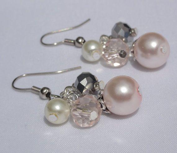 Pearl Cluster Dangle Earrings Wedding by Stunning Gems Jewelry Pink Wedding jewelry Wedding Jewelry Bridesmaid Jewelry Flower Girl Jewelry Bridesmaid Jewelry Gift Flower Girl Jewelry Gift