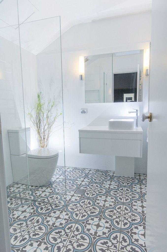 Encaustic Flor Tiles with Matt White walls