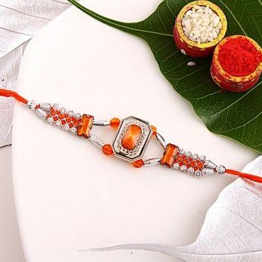 Orange Gemstone Fancy Rakhi rakhi online shopping