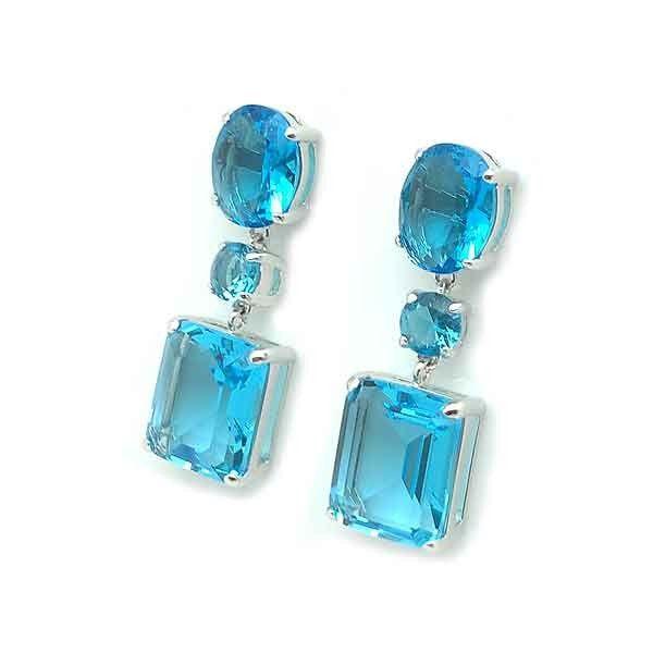 26de44eb6717 Pendientes de tres piezas elaborados en plata de primera ley con circonitas  de color azul.