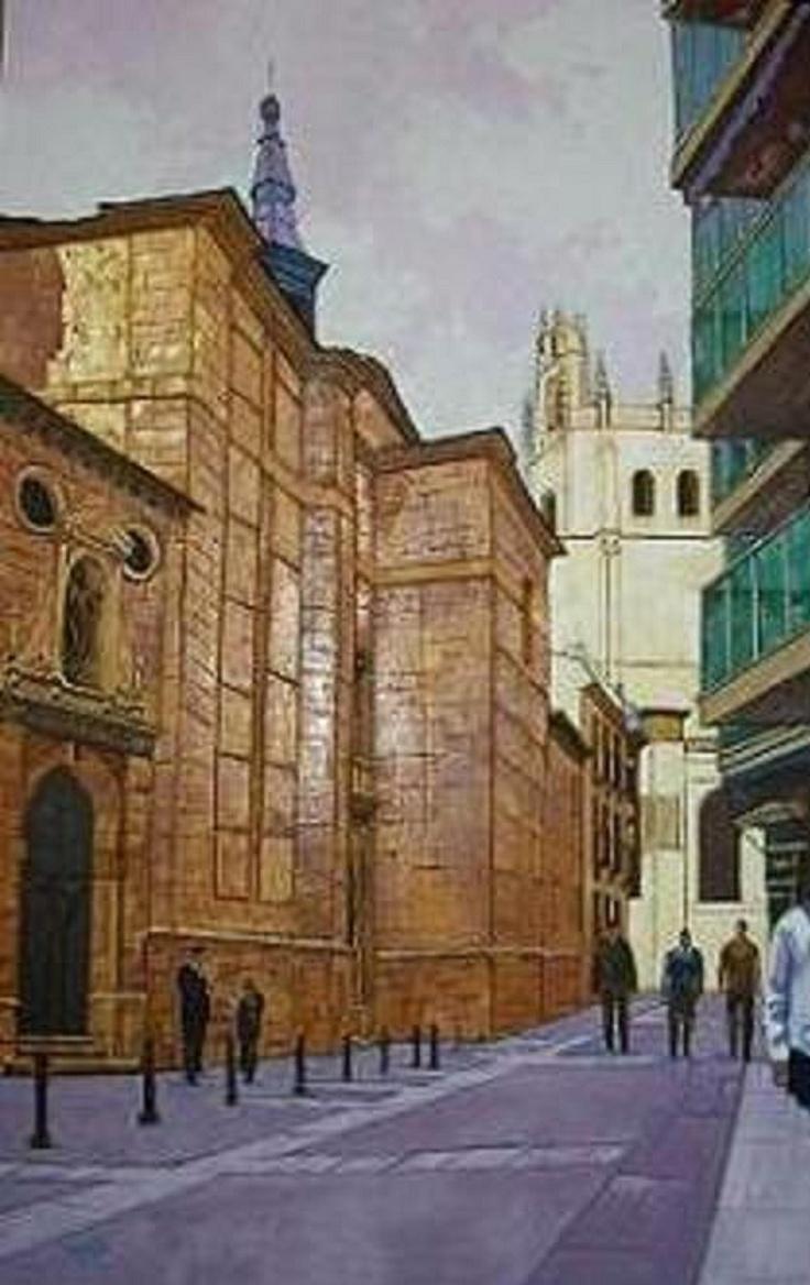 Titulo: Calle Juan de Castilla (Palencia), óleo sobre tabla, 120 x 77, 1200 €