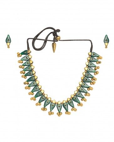 Green and Golden Rhombus Beaded Terracotta Necklace Set
