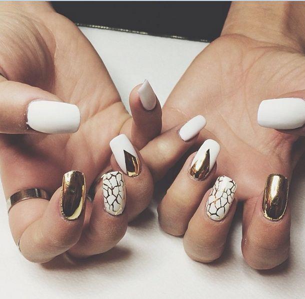 angelica blicks' white & gold nails | nail inspo ...