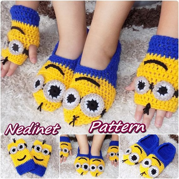 Crochet Minion slippers Minion mittens INSTANT by NedinetCreations