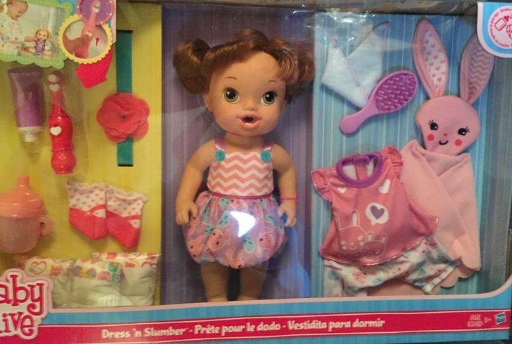 Nib Hasbro Baby Alive Dress N Slumber Blrown Hair Baby