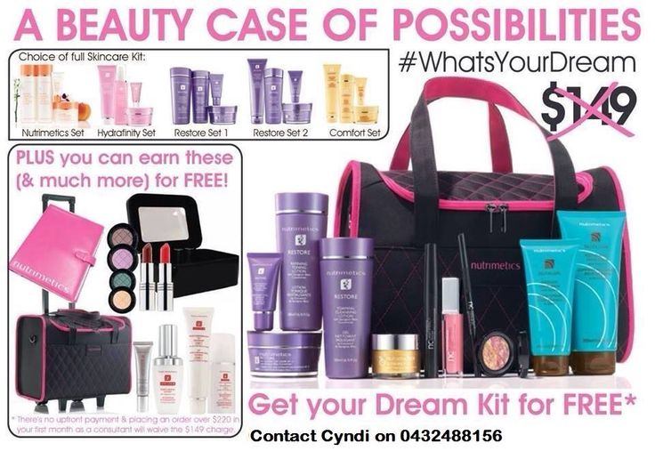 Join Nutrimetics with the New Dream Kit for $0 upfront & earn this amazing kit & more FREE*  Contact Cyndi on 0432488156 for more information www.nutrimetics.com.au/cyndi