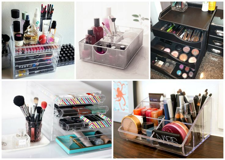 Simple ideas to store your #makeup products -Desk organizers. #beauty #skincare #storage #decor