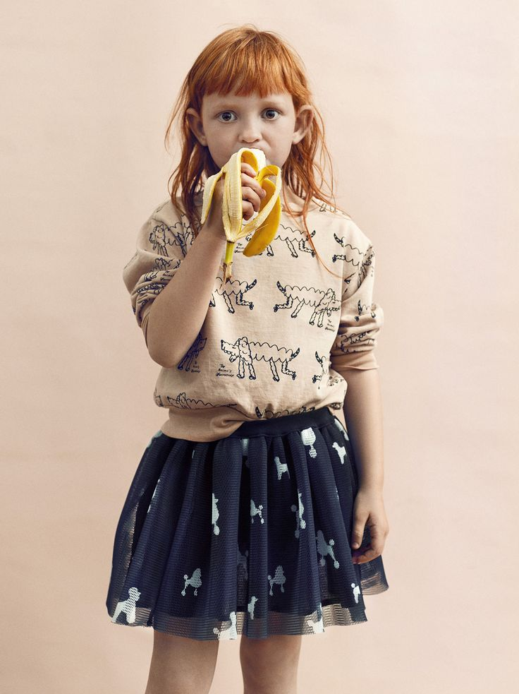 Wildkids for La Petite Magazine, photography by Marijke de Gruyter styling & creative direction by Jet Vervest, hair and make-up by Ingrid Boekel @Houseoforange, Loula: Sweater by the Animals Observatory Skirt by Caroline Bosmans