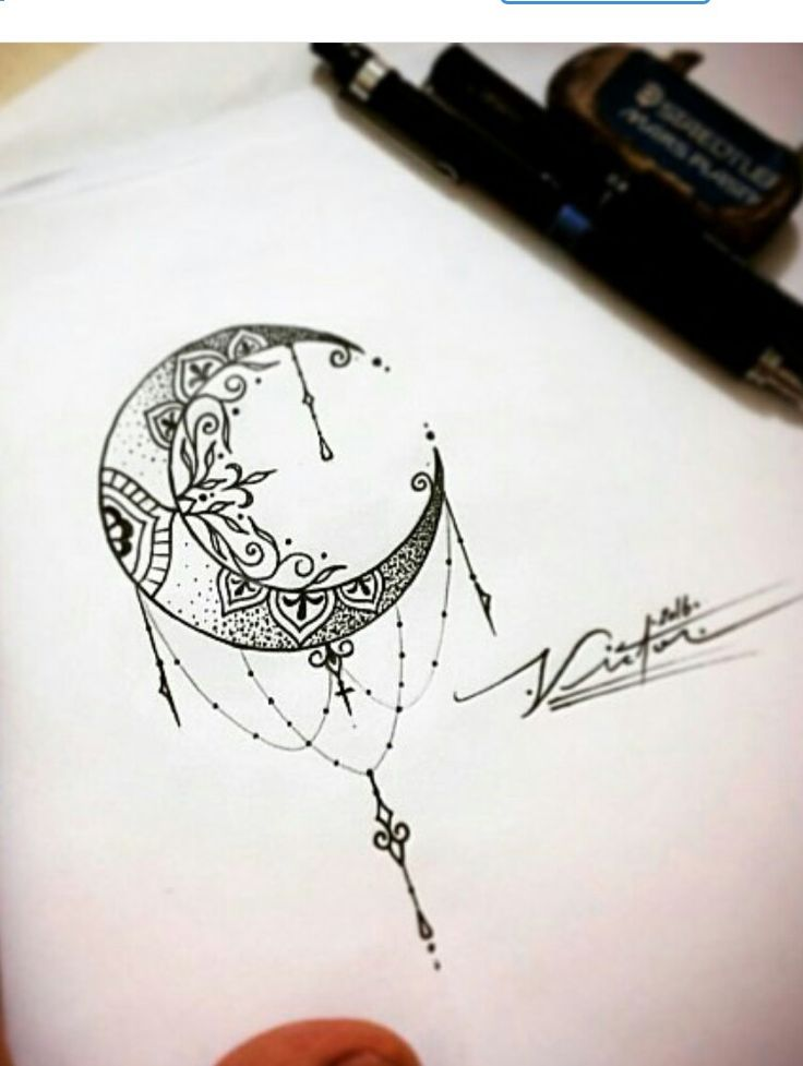 Mandala moon tattoo