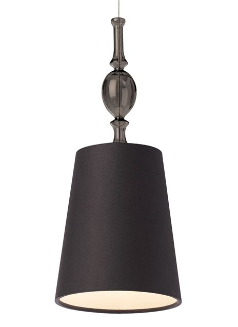 Antique meets modern with a turned ornate glass fount and simple tapered fabric shade with rolled edges.
