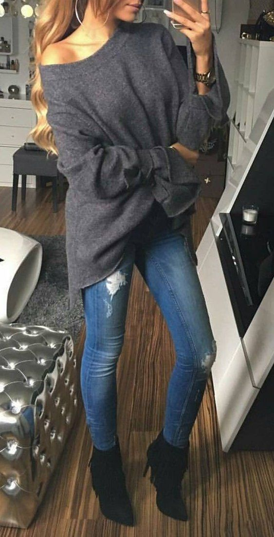 #fall #fashion ·  Dark Grey Sweater + Ripped Jeans + Ankle Boots