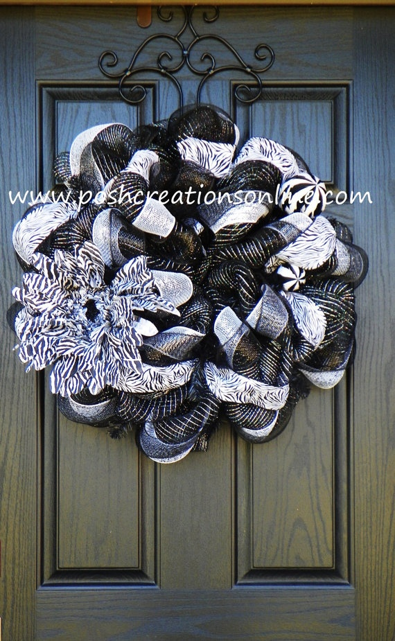 Zebra Print Deco Mesh Wreath. $69.00, via Etsy.