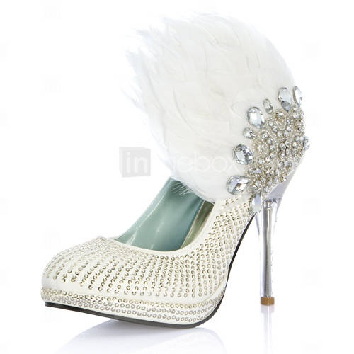 Luxurious Leatherette Upper Stiletto Heel Closed Toe With Rhinestone Feather Wedding Shoes: Feathers Stilettos, Leather Rhinestones, Wedding Shoes, Chairs, Stilettos Heels, Blog, Feathers Shoes, Rhinestones Feathers, Feathers Wedding