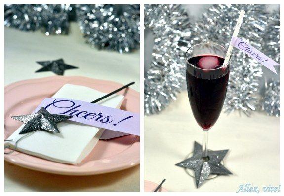 Eine schnelle Tischdeko für Silvester mit Sternen und Glitzer - ganz einfach selber machen! So macht Silvester Spaß!