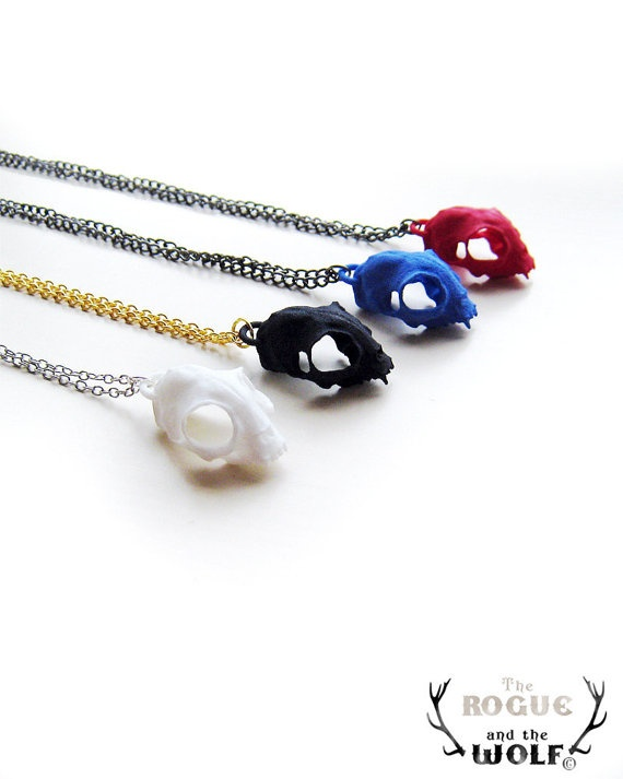 Skull Pendant in colors: Skulls, Skull Necklaces, Blue Cats, Sparkly Jewelry, Skull During, Cat Necklaces, Necklaces Cat, Cat Skull, White Cat