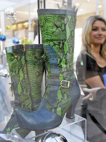 Custom made boots from The Wicked Costumes and Sketches Exhibition at Claremont Quarter. Picture: Alf Sorbello.