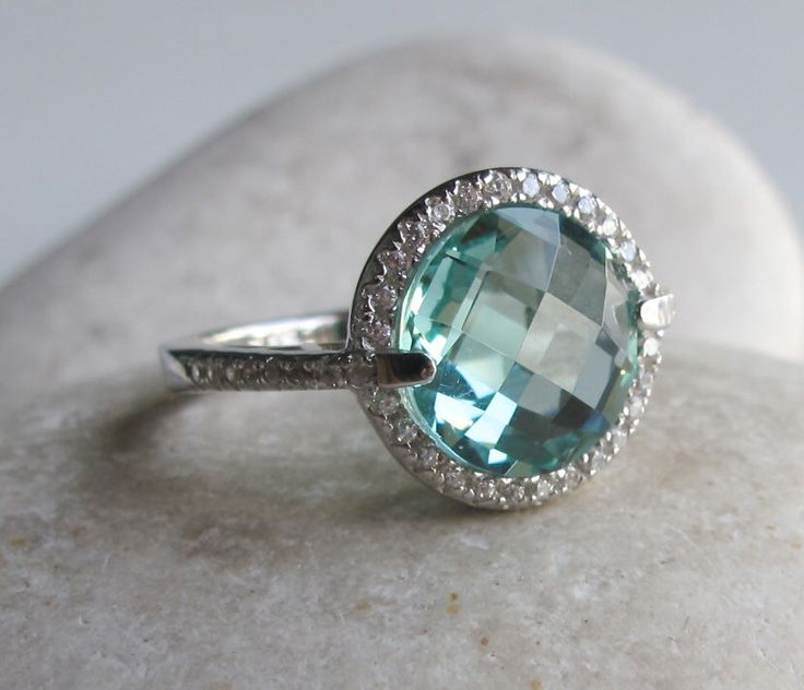 Amethyst Engagement Ring- Halo Ring- Green Amethyst Ring- Halo Ring- Gemstone Ring- Bridal Ring- Promise Ring by Belesas on Etsy https://www.etsy.com/listing/199525874/amethyst-engagement-ring-halo-ring-green