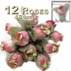 Artificial flowers, Gold Dipped, 0.5-inch, 12 Tulips, Rustic Peach