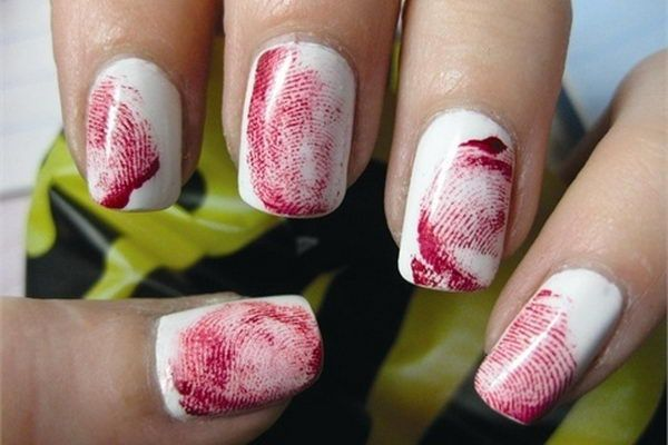 Bloody Fingerprint Nails. Cool Halloween Nail Art which show off your spooky spirit during the freakish festivities.