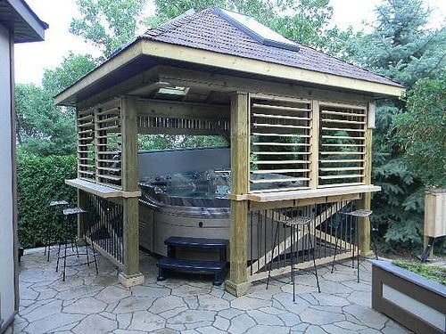some of the hot tub spa enclosures built with the hardware kit - Hot Tub Enclosures