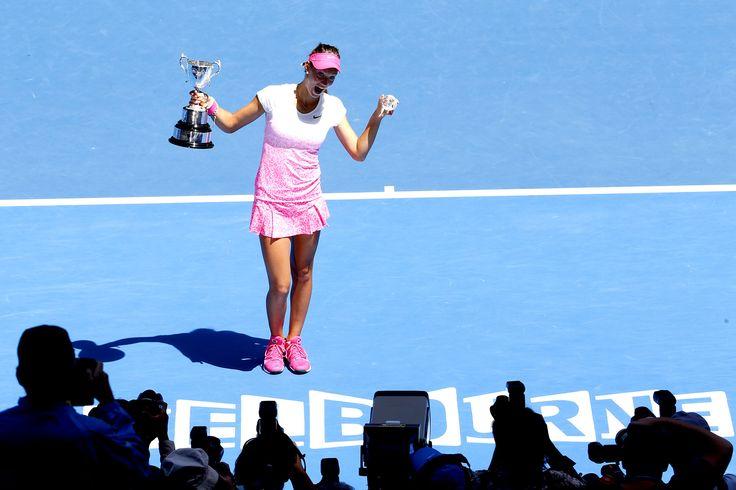 Happy...Junior Girls' Singles Final Tereza Mihalkova defeats Katie Swan 6-1 6-3, 31 January 2015 on centre court at Rod Laver Arena - Jason Lockett/Tennis Australia