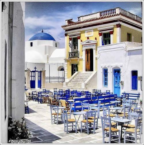 Town Hall Square, Isle of Serifos, Greece.Serifos Greece is a beautiful island of Western Cyclades, located between Kythnos and Sifnos.
