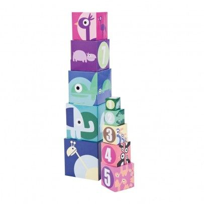 Card cubes number and animal