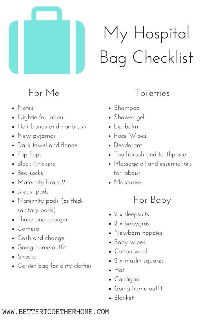 my hospital bag checklist baby pinterest hospital bag