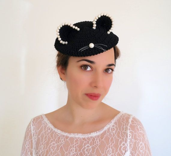 Black hat with ears Beaded hat Casual hat by PapillonsDeLeticia