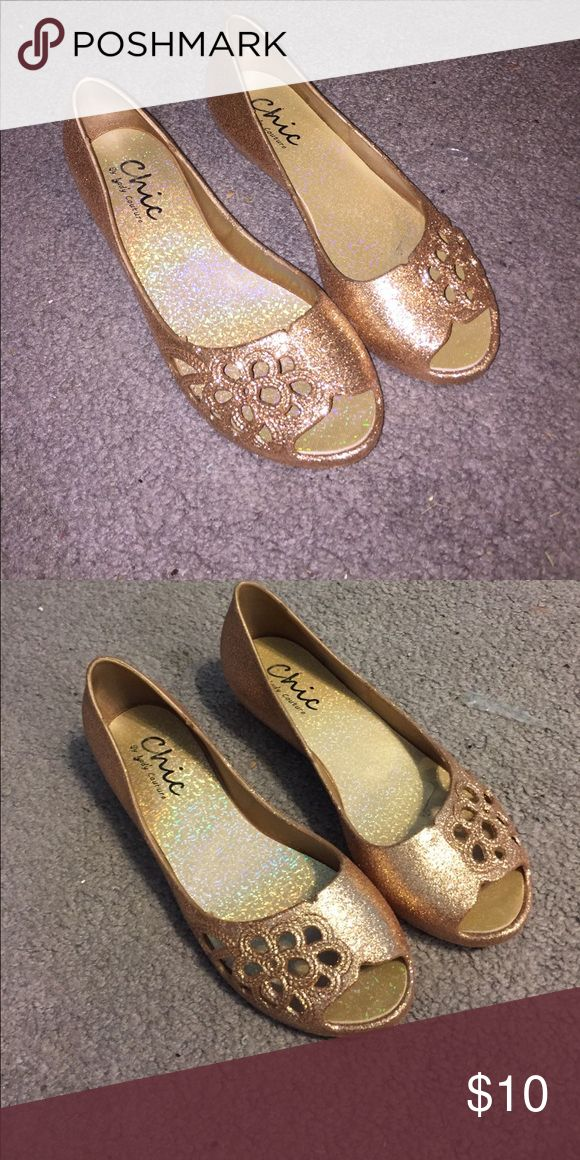 Gold shoes Gold sparkly shoes with floral design! Size 6! Shoes Flats & Loafers