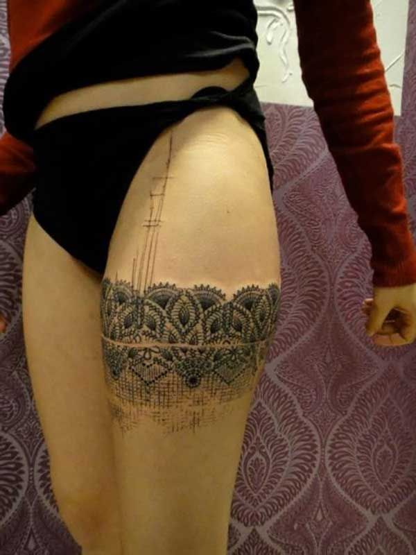 lace bow tattoo thigh - photo #41