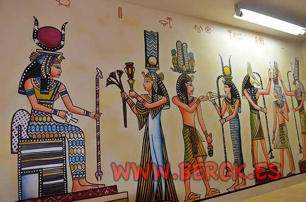 Decoraci n mural papiro egipto graffitis y murales berok for Mural egipcio