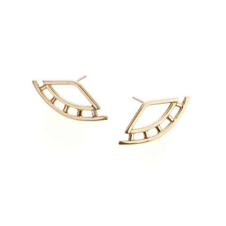 Yellow gold weave earrings | Dear Rae | Online Shop