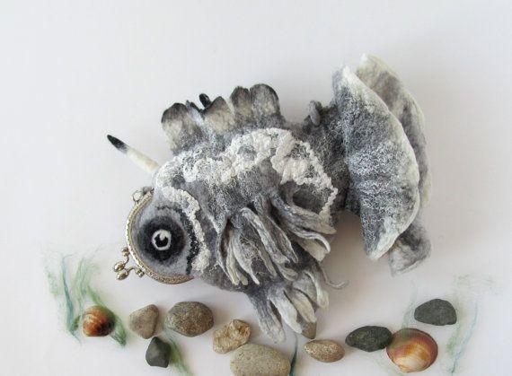 http://polandhandmade.pl/  #polandhandmade  #felting #fish #purse #bag