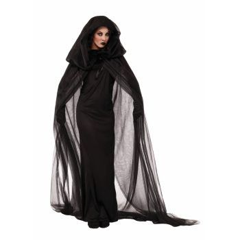 Description #73363 Make an eerie appearance to the party in this costume.You can slink through the shadows and haunt the night. Use this costume as a dark seductress, evil witch or a haunted lady cost
