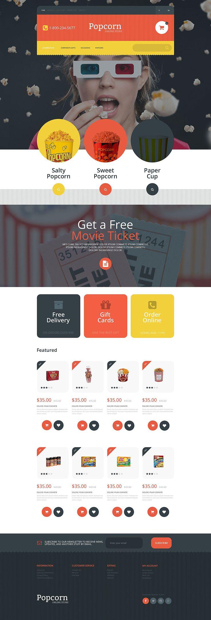 #Popcorn Online Store #OpenCart #Template #website #food http://www.templatemonster.com/opencart-templates/55039.html?utm_source=pinterest&utm_medium=timeline&utm_campaign=55039opc
