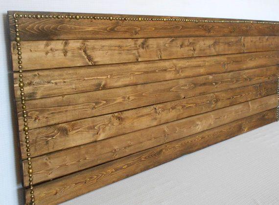 Queen size headboard, rustic headboard, headboard, nail trim headboard, wood headboard, ready to ship. For zee new place