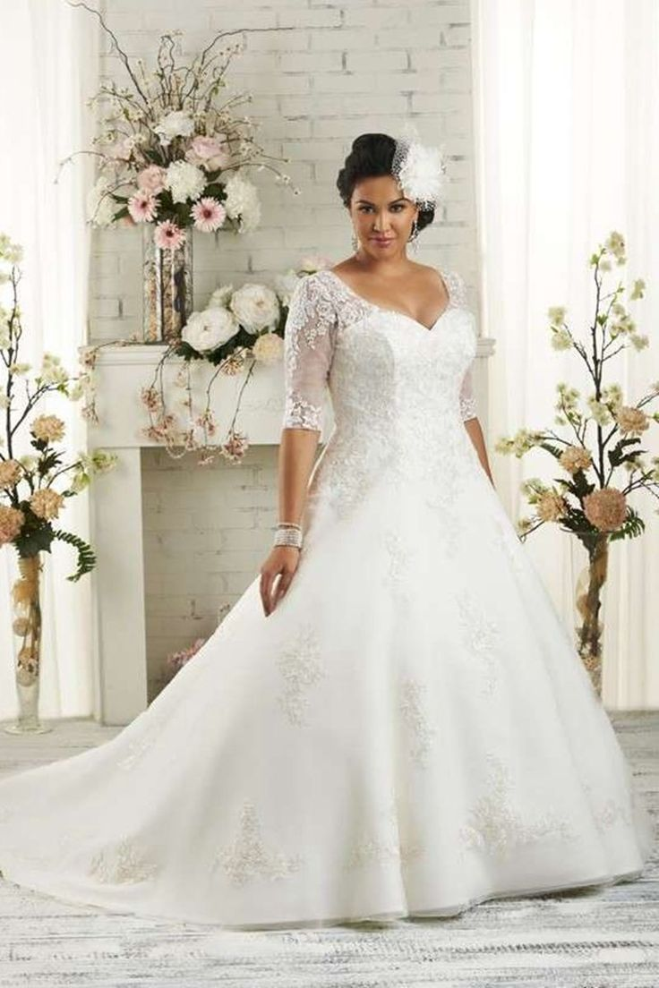 Shopping For A-line V-neck Half-Sleeve Lace Chapel Train Wedding Dresses Plus Size UK with Affordable Price P2015012812