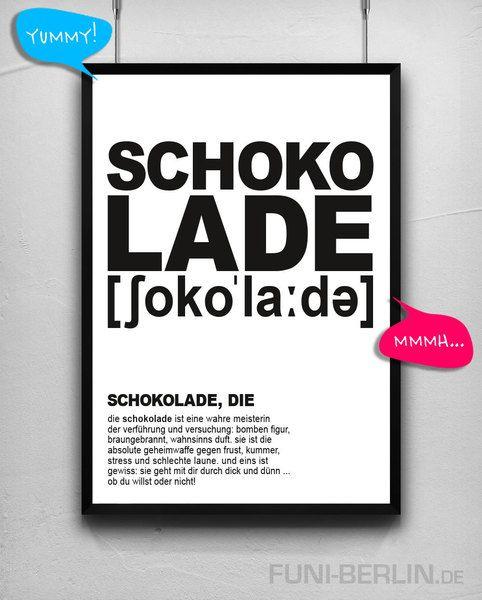 """""""SCHOKOLADE, DIE""""   typo poster   size L von FUNI BERLIN auf DaWanda.com"""