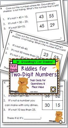 Groundhog Day math freebie! First grade riddle task cards for adding and subtracting one-digit and two-digit numbers with no regrouping. https://www.teacherspayteachers.com/Product/Riddles-for-Two-Digit-Numbers-Mr-Groundhogs-Missing-Shadow-1668214