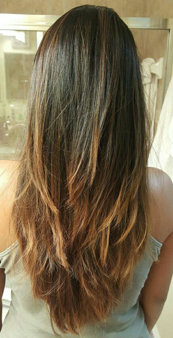 Long layers v cut hairstyle