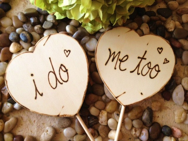 Wedding Engagement Photo Props I DO Me Too Large Hearts Rustic Decorations Great for your Pictures. $21.99, via Etsy.