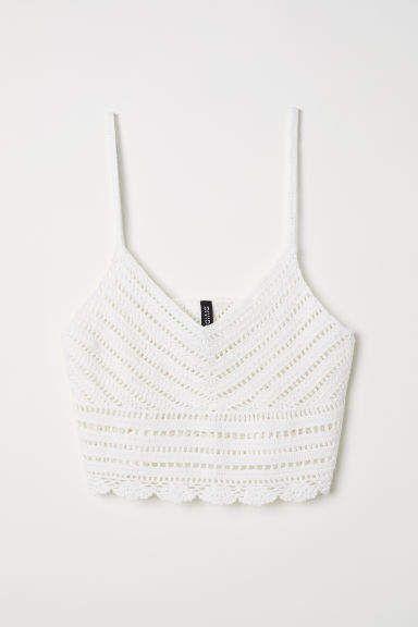 79fdb6603ff59 H M Crocheted Top - White