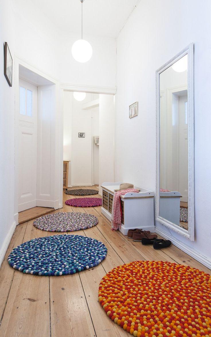 Filzkugelteppich rund selber machen Tipps zum Filzen und