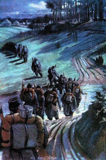 En chemin vers la tranchée, un gué, Artois, 1915 L a route blafarde qui monte au milieu du bois nocturne est bouch