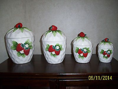 Vintage Lefton Strawberry Cannister Set   Lefton Ceramic China Strawberries  (4)
