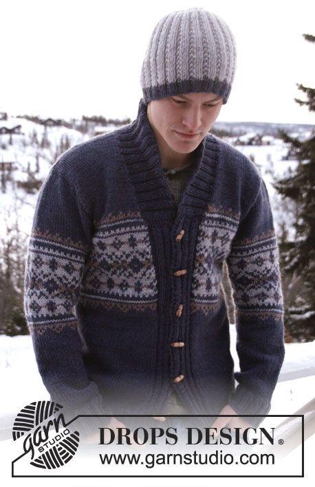 Gebreid DROPS heren vest met patroon en sjaalkraag van Alaska. Maat: S - XXXL.  Gratis patronen van DROPS Design.