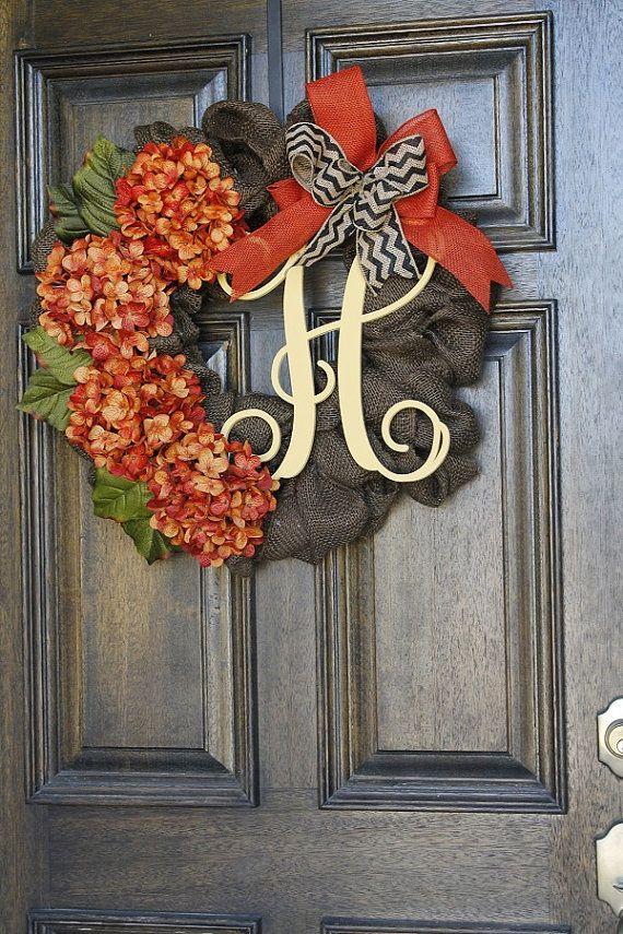 Burlap Wreath Fall Wreath Fall Hydrangea by theembellishedhome